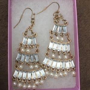 FRANCESCA pearl chandelier earrings